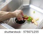 food waste left in a sink.... | Shutterstock . vector #575071255