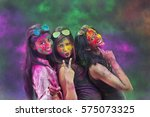 portrait of three young indian... | Shutterstock . vector #575073325