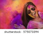 portrait of a smiling girl with ... | Shutterstock . vector #575073394