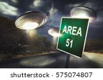 area 51 sign in the middle of... | Shutterstock . vector #575074807