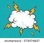 pop art cloud with lightning... | Shutterstock .eps vector #575074837