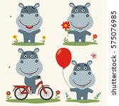 Vector Set Funny Hippo Plays O...