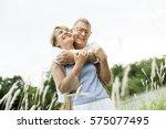 elderly senior couple romance... | Shutterstock . vector #575077495