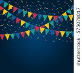festive flags and confetti.... | Shutterstock .eps vector #575078017