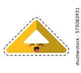cartoon triangle ruler school... | Shutterstock .eps vector #575083951