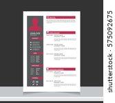 resume and cv vector template.... | Shutterstock .eps vector #575092675