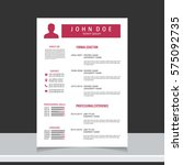 resume and cv vector template.... | Shutterstock .eps vector #575092735