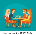 friends seating in cafe | Shutterstock .eps vector #575093104