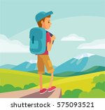 illustration with tourist hiking | Shutterstock .eps vector #575093521