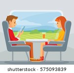 train passengers travel | Shutterstock .eps vector #575093839