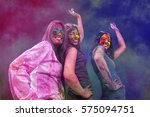 three young indian women with... | Shutterstock . vector #575094751