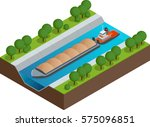 isometric barge on a river.... | Shutterstock .eps vector #575096851