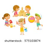 kids at the beach isolated on... | Shutterstock .eps vector #575103874