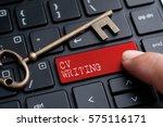 closed up finger on keyboard...   Shutterstock . vector #575116171