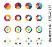 flat pie chart set in modern...