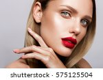 beautiful young model with red... | Shutterstock . vector #575125504