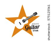acoustic guitar on yellow... | Shutterstock .eps vector #575125561