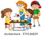 children having meal at table... | Shutterstock .eps vector #575136829