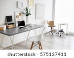 comfortable workplace with... | Shutterstock . vector #575137411