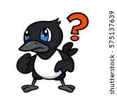 cartoon magpie confused with... | Shutterstock .eps vector #575137639