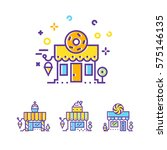 sweet shop color icon. set of...
