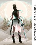princess warrior in the wood.... | Shutterstock .eps vector #575153851