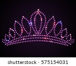 shiny pink tiara with sparkles  ... | Shutterstock .eps vector #575154031