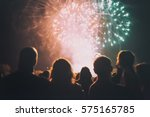 crowd watching fireworks and... | Shutterstock . vector #575165785