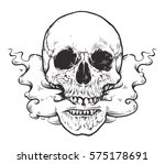smoking skull art.tattoo style... | Shutterstock .eps vector #575178691