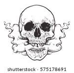 smoking skull art.tattoo style...   Shutterstock .eps vector #575178691