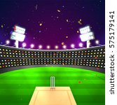 view of a cricket stadium in...   Shutterstock .eps vector #575179141