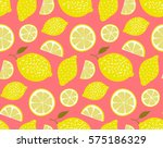 yellow lemons on pink... | Shutterstock .eps vector #575186329