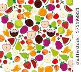 fresh fruit pattern background | Shutterstock .eps vector #575198821
