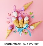 easter spring concept. flat lay ... | Shutterstock . vector #575199709
