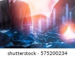 double exposure businessman and ... | Shutterstock . vector #575200234