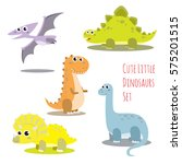 Cute Little Dinosaurs Vector...