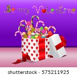 be my valentine written with... | Shutterstock .eps vector #575211925