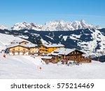 downhill slope and apres ski...   Shutterstock . vector #575214469
