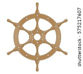 Wooden Ship Wheel. Boats Helm...