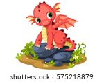 cute red baby dragon cartoon | Shutterstock .eps vector #575218879