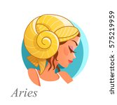 beautiful woman as aries zodiac ...   Shutterstock .eps vector #575219959