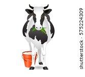 vector illustration. white cow... | Shutterstock .eps vector #575224309