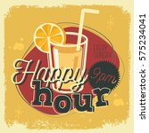 happy hour new age 50s vintage... | Shutterstock .eps vector #575234041