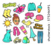 spring woman fashion with... | Shutterstock .eps vector #575246491