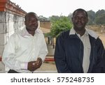 Small photo of Two young Africans on the terrace of the house in city Nyunzu near which were located Coltan mines in DRC Congo Africa 02.09.2010.year