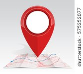 gps icon mock up red color on... | Shutterstock .eps vector #575252077