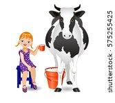 vector illustration. white cow... | Shutterstock .eps vector #575255425