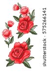 beautiful flowers embroidery.... | Shutterstock .eps vector #575266141