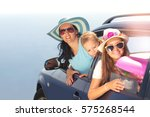 mother with two kids travel by... | Shutterstock . vector #575268544