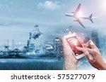 double exposure of businessman... | Shutterstock . vector #575277079